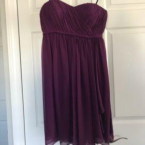 Strapless, knee length bridesmaid dress